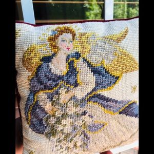 VINTAGE NEEDLEPOINT ANGEL ACCENT THROW PILLOW